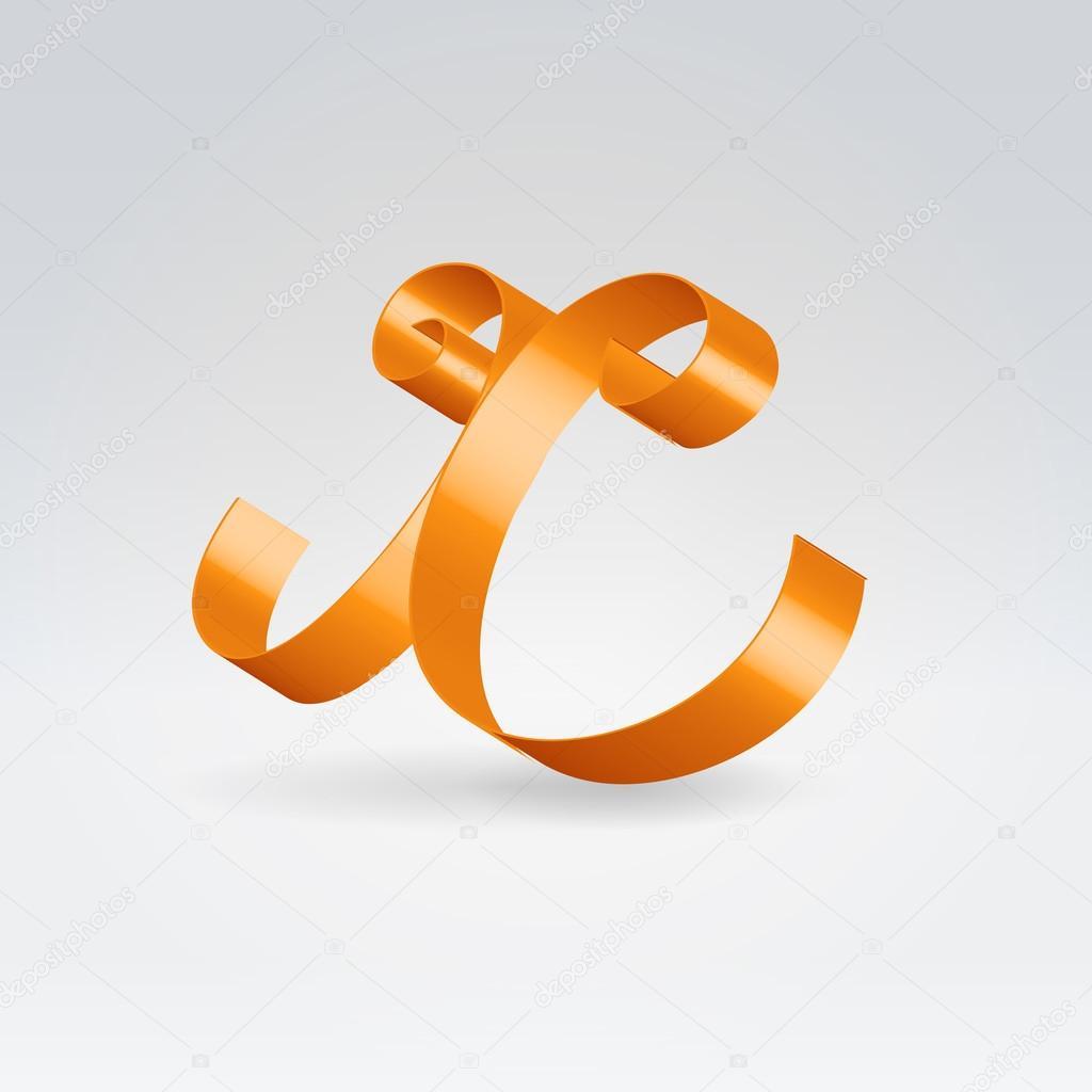 光泽橙色丝带装饰丝绸小写字母 x– 图库插图