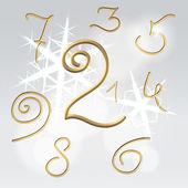 Golden numbers festive set — Stock Vector