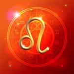 Zodiac Leo golden sign — Stock Vector