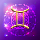 Zodiac Gemini golden sign — Stok Vektör