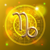 Zodiac Capricorn golden sign — Stok Vektör