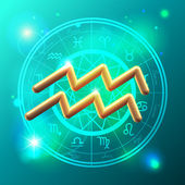 Zodiac Aquarius golden sign — Stockvector