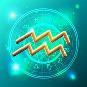Zodiac Aquarius golden sign — Stock Vector