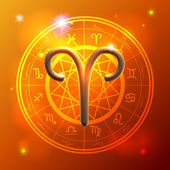 Zodiac Aries golden sign — Stok Vektör