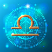 Zodiac Libra golden sign — Stok Vektör