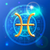 Zodiac Pisces golden sign — Stok Vektör