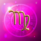 Zodiac Virgo golden sign — Stok Vektör