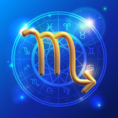 Zodiac Scorpio golden sign — Stok Vektör