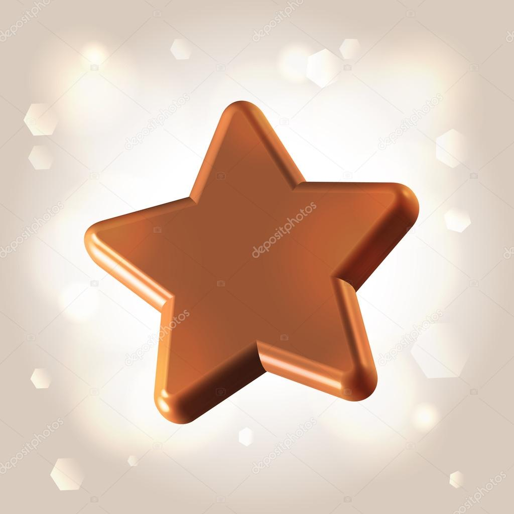 Chocolate smooth polished star over light shining background  Stock Vector #15758867