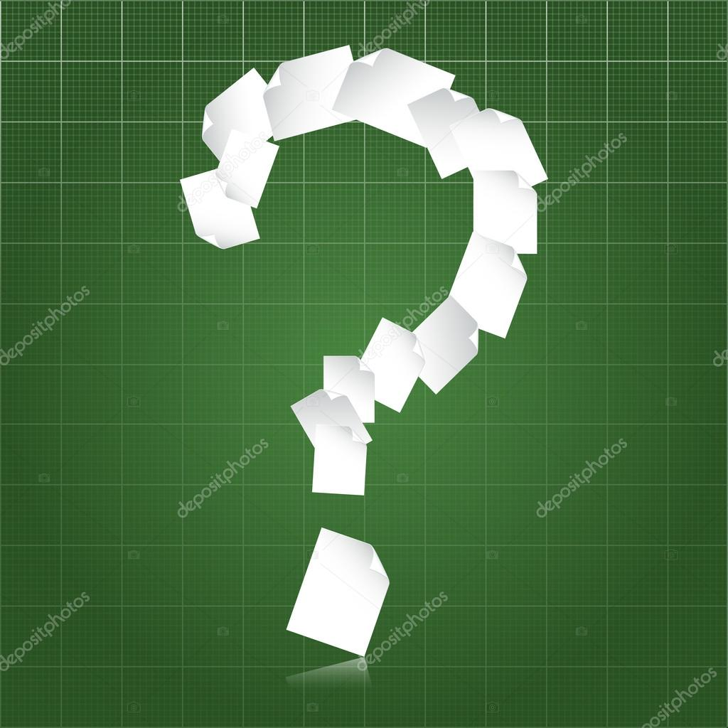 Question mark shaped stream of paperwork over green blueprint background — Stock Vector #18296141