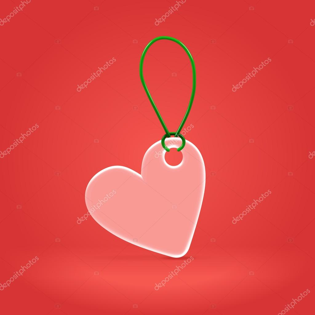 Heart shaped pink plastic badge hanging on green plastic rope  Stock Vector #19256221