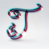 Fantasy plastic 3d glowing ribbon typeface — Stock Vector