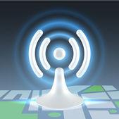マップ上の wifi ホット スポット — ストックベクタ