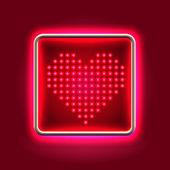 Cabeceira de néon brilhante coração — Fotografia Stock