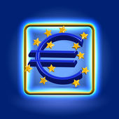 Euro currency sign neon icon — Stock Photo