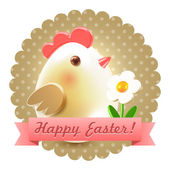 Easter chicken greetings postcard — Stock Photo