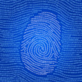 Data encoded fingerprint abstract vector background — Stock Photo