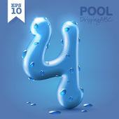 Wet blue glossy font - 4 — Stok Vektör