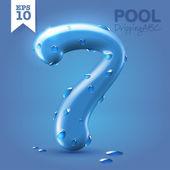 Wet blue glossy font - 7 — Stok Vektör