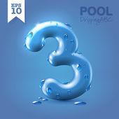 Wet blue glossy font - 3 — Stok Vektör