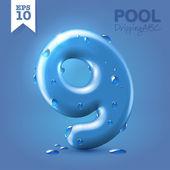 Wet blue glossy font - 9 — Stok Vektör