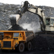 Stock Photo: A big yellow mining truck