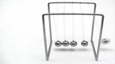 Playing with Newtons Cradle — Stock Video
