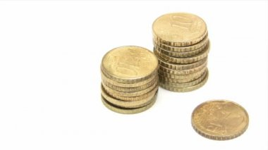 Stacking Euro Cent Coins — Stockvideo