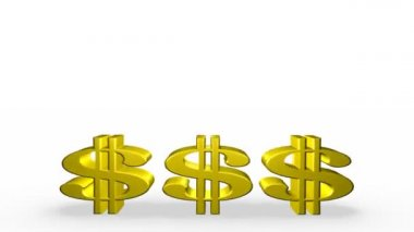Three Golden Dollar Signs — Video Stock