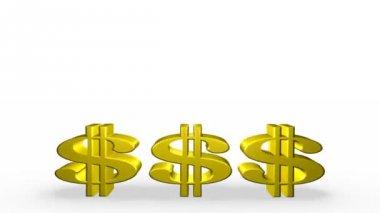Three Golden Dollar Signs — Stock Video