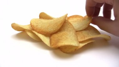 Eating Potato Chips - Time Lapse — Vídeo de stock