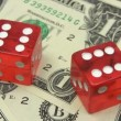 Red Dice on Dollars — Stock Video #13333744