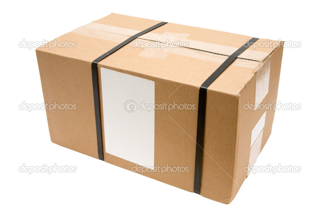 Brown parcel with blank label isolated on a white background. — Stock Photo #18804123