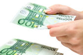 Counting 100 Euro Banknotes — Stock Photo
