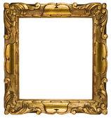 Rám obrazu zlatý s ořezovou cestou izolovaných na bílém pozadí — Stock fotografie