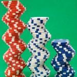 Three Stacks of Poker Chips — Stock Photo