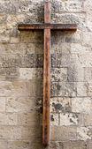 Wooden Cross on Wall — Stock Photo