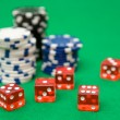 Poker Chips and Red Dice - Stock Photo