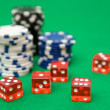 Poker Chips and Red Dice — Stock Photo