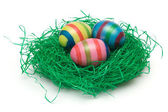 Three Easter Eggs on Grass — Stock Photo