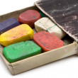 Grungy Box of Wax Crayons — Stock Photo