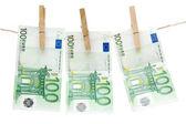 Drying One Hundred Euro Bills — Stock Photo
