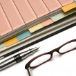 Folder, Pen and Glasses — Stockfoto