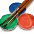 RGB Watercolors with Paintbrushes — Stock Photo