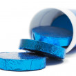 Tube of Blue Wrapped Pills — Stock Photo