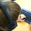 Computer Kid with Headphones — Foto de Stock