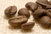 Coffee Beans on Linen — Stock Photo