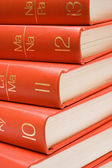 Stacked Red Books Close-Up — Stock Photo