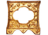 Small Ornamented Golden Picture Frame with Clipping Path — Stock Photo