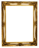 Picture Frame Gold with Clipping Path — Zdjęcie stockowe